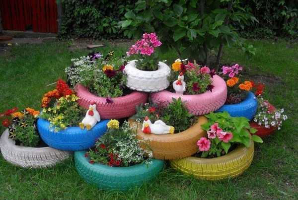 Клумбы для сада своими руками из покрышек