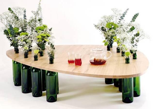 Барный столик из пивных бутылок своими руками