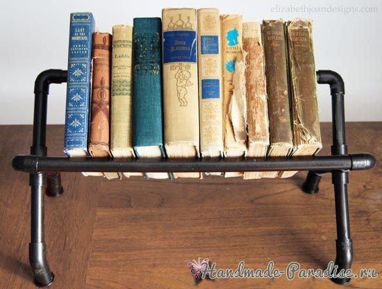 Книжная полка из труб своими руками