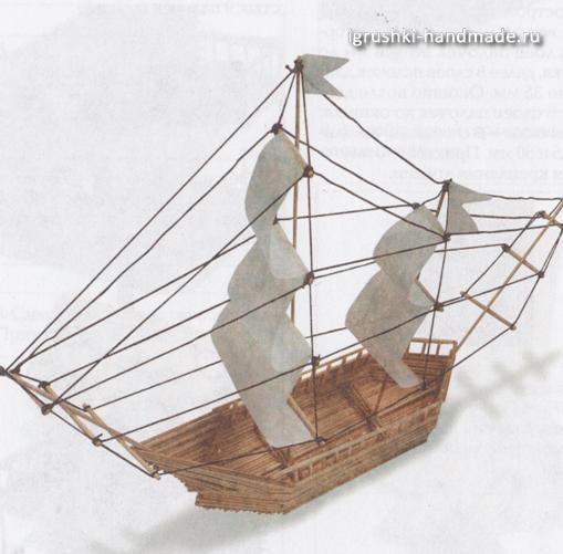 Игрушечный кораблик из бамбука своими руками
