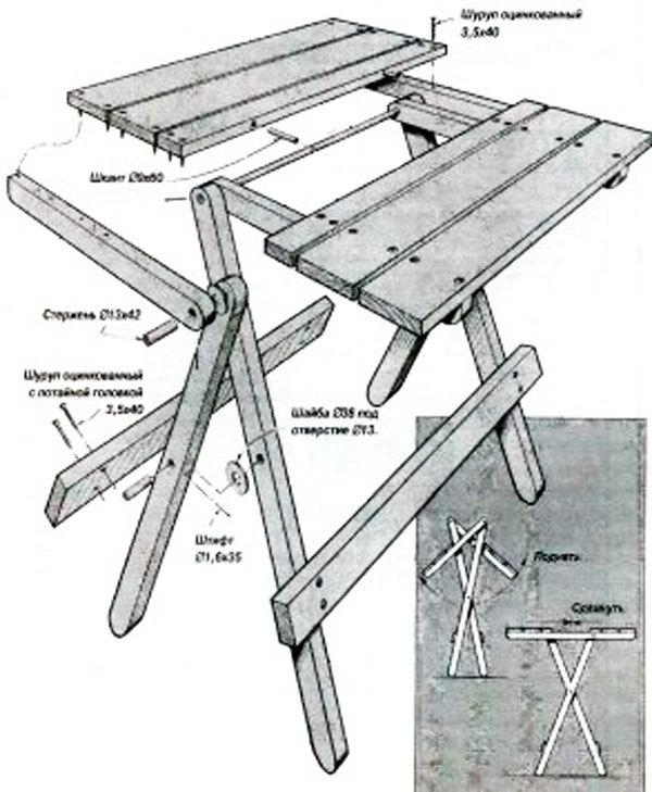 как сделать раскладной столик своими руками фото