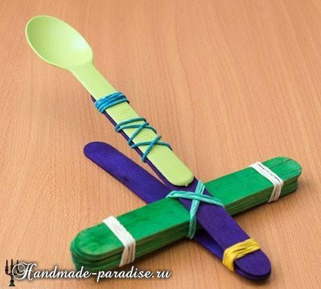 Как сделать мини самолёт с катапультой из палочек от мороженного своими руками!