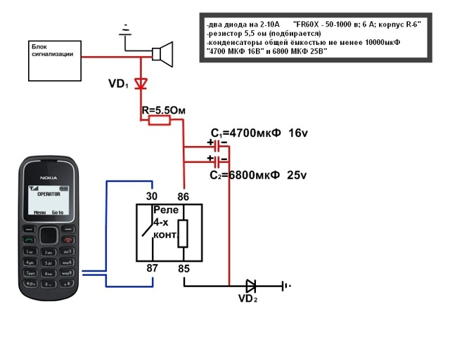 Мобильная сигнализация сделана из старенького кнопочного мобильного телефона своими руками