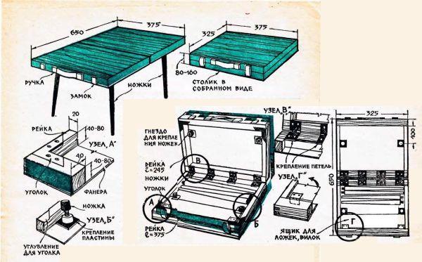 Раскладной стол своими руками из фанеры